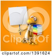 Clipart Of A 3d Yellow Gecko Lizard Holding Books On An Orange Background Royalty Free Illustration