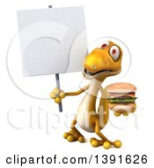 Clipart Of A 3d Yellow Gecko Lizard Holding A Double Burger On A White Background Royalty Free Illustration