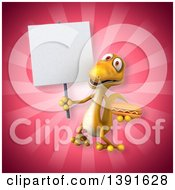 Clipart Of A 3d Yellow Gecko Lizard Holding A Hot Dog On A Pink Background Royalty Free Illustration
