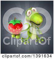 Clipart Of A 3d Green Gecko Lizard Holding A Strawberry On A Gray Background Royalty Free Illustration