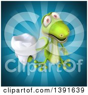 Clipart Of A 3d Green Gecko Lizard Holding A Tooth On A Blue Background Royalty Free Illustration