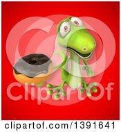 Clipart Of A 3d Green Gecko Lizard Holding A Donut On A Red Background Royalty Free Illustration