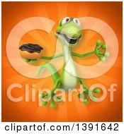 Clipart Of A 3d Green Gecko Lizard Holding A Donut On An Orange Background Royalty Free Illustration