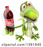 Clipart Of A 3d Green Gecko Lizard Holding A Soda Bottle On A White Background Royalty Free Illustration