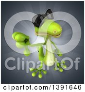 Clipart Of A 3d Green Gecko Lizard On A Gray Background Royalty Free Illustration