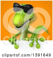 Clipart Of A 3d Green Gecko Lizard On An Orange Background Royalty Free Illustration
