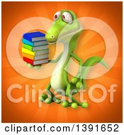 Clipart Of A 3d Green Gecko Lizard Holding Books On An Orange Background Royalty Free Illustration