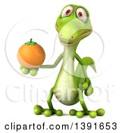Clipart Of A 3d Green Gecko Lizard Holding An Orange On A White Background Royalty Free Illustration