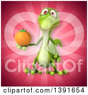 Clipart Of A 3d Green Gecko Lizard Holding An Orange On A Pink Background Royalty Free Illustration