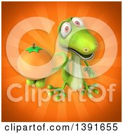Clipart Of A 3d Green Gecko Lizard Holding An Orange On An Orange Background Royalty Free Illustration