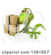 Clipart Of A 3d Green Gecko Lizard Holding Boxes On A White Background Royalty Free Illustration