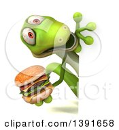 Clipart Of A 3d Green Gecko Lizard Holding A Double Burger On A White Background Royalty Free Illustration