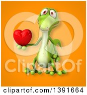 Clipart Of A 3d Green Gecko Lizard Holding A Love Heart On An Orange Background Royalty Free Illustration