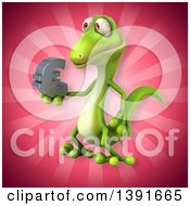 Clipart Of A 3d Green Gecko Lizard On A Pink Background Royalty Free Illustration
