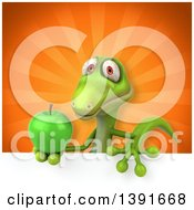 Clipart Of A 3d Green Gecko Lizard Holding A Green Apple On An Orange Background Royalty Free Illustration