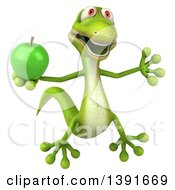 Clipart Of A 3d Green Gecko Lizard Holding A Green Apple On A White Background Royalty Free Illustration