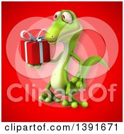 Clipart Of A 3d Green Gecko Lizard On A Red Background Royalty Free Illustration