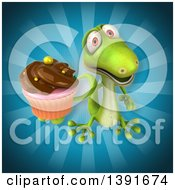 Clipart Of A 3d Green Gecko Lizard Holding A Cupcake On A Blue Background Royalty Free Illustration