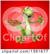 Clipart Of A 3d Green Gecko Lizard Holding A Pizza On A Red Background Royalty Free Illustration