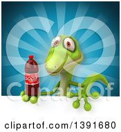 Clipart Of A 3d Green Gecko Lizard Holding A Soda Bottle On A Blue Background Royalty Free Illustration