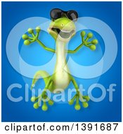 Clipart Of A 3d Green Gecko Lizard On A Blue Background Royalty Free Illustration
