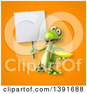 Clipart Of A 3d Green Gecko Lizard Holding A Banana On An Orange Background Royalty Free Illustration