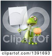 Clipart Of A 3d Green Gecko Lizard Holding An Orange On A Gray Background Royalty Free Illustration