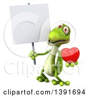 Clipart Of A 3d Green Gecko Lizard Holding A Love Heart On A White Background Royalty Free Illustration