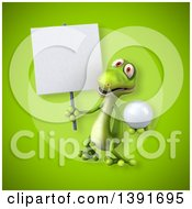 Clipart Of A 3d Green Gecko Lizard On A Green Background Royalty Free Illustration