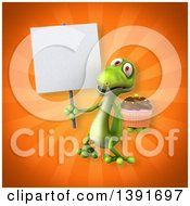 Clipart Of A 3d Green Gecko Lizard Holding A Cupcake On An Orange Background Royalty Free Illustration