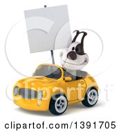 3d Jack Russell Terrier Dog Driving A Convertible Car On A White Background