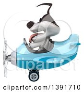 Clipart Of A 3d Jack Russell Terrier Dog Aviator Pilot Flying An Airplane On A White Background Royalty Free Illustration