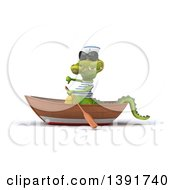 Clipart Of A 3d Sailor Crocodile Rowing A Boat On A White Background Royalty Free Illustration