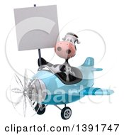 Clipart Of A 3d Cow Aviator Pilot Flying An Airplane On A White Background Royalty Free Illustration