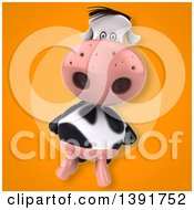 Clipart Of A 3d Cow On An Orange Background Royalty Free Illustration