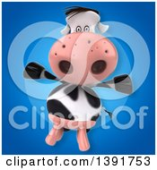 Clipart Of A 3d Cow On A Blue Background Royalty Free Illustration