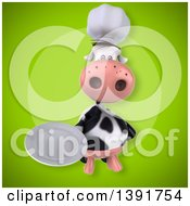 Clipart Of A 3d Chef Cow On A Green Background Royalty Free Illustration