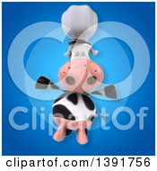 Clipart Of A 3d Chef Cow On A Blue Background Royalty Free Illustration