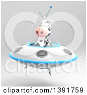 Clipart Of A 3d Cow Flying A Ufo On A Gray Background Royalty Free Illustration