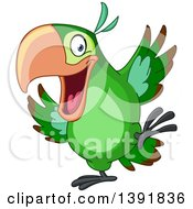 Clipart Of A Cartoon Happy Green Parrot Dancing Royalty Free Vector Illustration