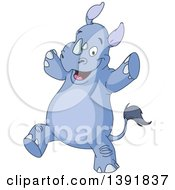 Clipart Of A Cartoon Happy Rhino Dancing Royalty Free Vector Illustration