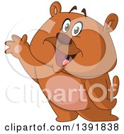 Cartoon Happy And Friendly Bear Waving
