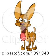Cartoon Happy Miniature Pinscher Dog Panting