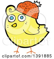Clipart Of A Cartoon Yellow Bird Royalty Free Vector Illustration