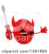 3d Red Devil Head On A White Background