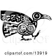 Mayan Or Aztec Bird Design In Black And White Clipart Illustration