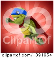 Clipart Of A 3d Green Tortoise Super Hero On A Red Background Royalty Free Illustration