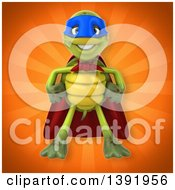 Clipart Of A 3d Green Tortoise Super Hero On An Orange Background Royalty Free Illustration