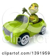 Clipart Of A 3d Green Tortoise Driving A Convertible Car On A White Background Royalty Free Illustration