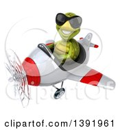 Clipart Of A 3d Green Tortoise Aviator Pilot Flying A Plane On A White Background Royalty Free Illustration